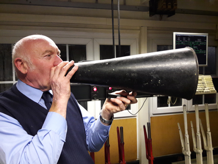 Signalman, Paul Kenny, demonstrates LMS loud hailer